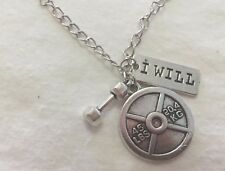 CROSSFIT GYM 45Lb Weight Lifting 'I WILL' BARBELL Silver Tone CHAIN NECKLACE
