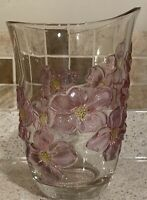 Clear Glass Vase with Glass Purple Dogwood Flowers