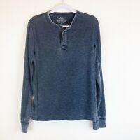 Lucky Brand Mens Venice Burnout Charcoal Long Sleeve Waffle Knit Henley Shirt S