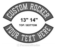 "Custom Embroidered 13"" 14"" Top Or Bottom Rocker Sew on Patch MC Biker Badge (F)"