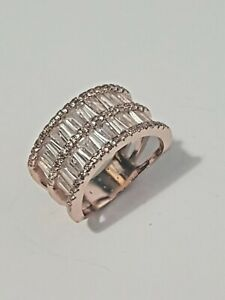 Rose gold plated two row half eternity style clear crystal baguette cut ring