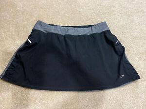 Champion Women's Skort Skirt w/ Shorts XL Black Gray Zip Pocket Stretch