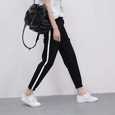 Mujer Lado Rayas Pantalones Estilo Árabe Altura a Tobillo Negro Largo