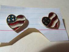 """AVON AMERICANA goldtone heart shaped flag pierced earrings about 3/4"""" in size"""