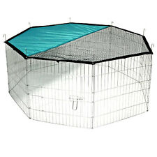 Kerbl Outdoor Galvanized Steel Enclosure 8 Panels Includes Net & Sun Protection