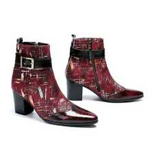 Men Leather Business Zipper Block Heels Ankle Boot Buckle Strap Winter Punk Shoe