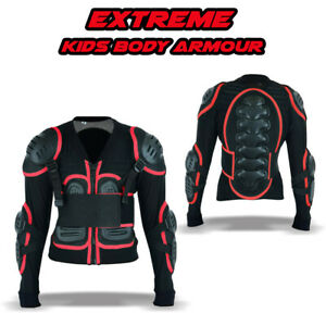 Kids Dirt Quad Bike Body Armour CE Off Road Chest Spine Protection Jackets - RED