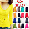 Womens Long Sleeves Soft Stretchy Solid Basic Top Scoop Neck T-shirt Blouse Tee