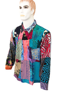 Unique Ethnic Funky Bali Hippy Festival Casual Rayon Patchwork Long Sleeve Shirt