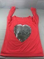 Fashion Wear Girls Size L 12/14 Pink Sequin Heart Design Pullover Top Shirt