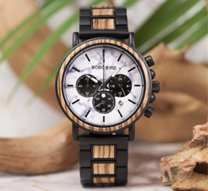 BOBO BIRD Mens Deluxe Wood Watch With Date In Gift Box