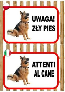 German Shepherd Beware Of The Dog sign UWAGA ZŁY PIES ATTENTI AL CANE Plaque