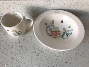 Beatrix Potter A25864 Peter Rabbit Porcelain Mug Bowl 2 piece see description