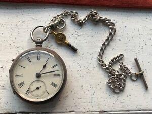Antique Key Wound Pocket Watch Chester Silver Case Chain 1878
