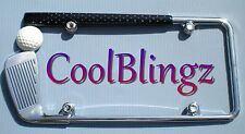 GOLF CLUB License Plate Frame and Crystal Bling Caps made w/ Swarovski Elements