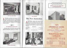 Advertising Flyer for the New Amsterdam Hotel in Washington DC w/ Road Map