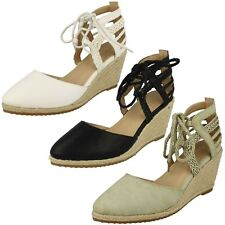 Ladies Anne Michelle Ankle Lace Up 'Wedge Sandals'
