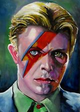 David Bowie poster Art print signed by self representing artist A3 size