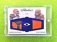 BAKER MAYFIELD FLAWLESS NICK CHUBB ROOKIE JERSEY CARD 5/5 SSP 2018 Panini BROWNS