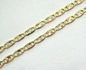 "14k 3-Color Gold Valentino Chain Necklace 20.25"" diamond-cut yellow white rose"