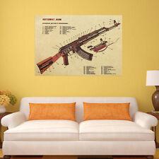 Large Vintage Antique Classical Style Retro Paper AK-47 Poster Home Decoration