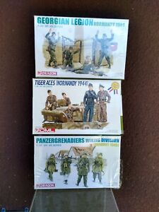 Lot Of 3 Dragon Models 1/35 German WWII Figure Sets 6028, 6194, 6277