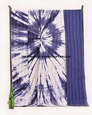 Indian Tie Dye Kantha Quilt.Shibori Queen Bedspread Throw Cotton Blanket Bedding