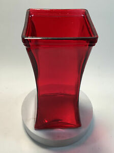 Red Glass Vase Square Top/Base Curved Sides 9 X 4 X 4 Inches