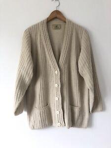 Alpaca International Cardigan Size Small Hand Knitted Peru Beige V Neck Ribbed