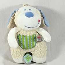"""HABA Pure Nature Organic Budgie Puppy Musical Rock A Baby Plush Toy Cream 8""""x 5"""""""