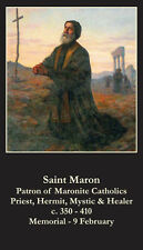 Saint St. Maron Holy Prayer Card + Maronite Catholics + Hermit Mystic Healer