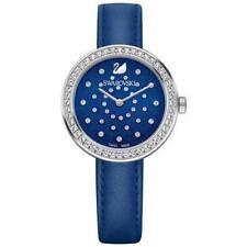 NEW WOMENS SWAROVSKI (5235485) SWISS DAYTIME BLUE CRYSTAL LEATHER STRAP WATCH