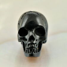 Human SKULL Carving Black Bovine HORN 16 mm un-drilled hand-carved in Bali