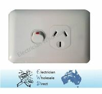 Slim Wafer Single Power Point Outlet Switch GPO White Slimline Electrical 10 Amp
