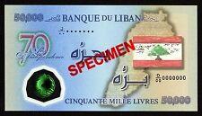 SPECIMEN 50000 Livres 2013 POLYMER  Lebanon Independence Bill >> RARE <<