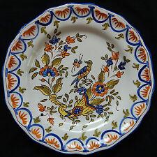 "B25) Assiette ""moderne"" faïence décor peint main (corne abondance, Oiseau...)"