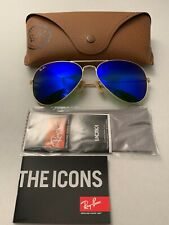 Ray-Ban Aviator Sunglasses RB3025 58mm 112/17 Gold Frame with Blue Mirror Lenses