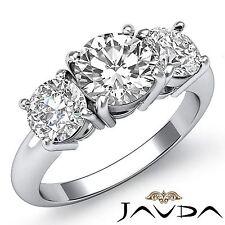 1.75ct Round Diamond Gorgeous Engagement 3 Stone Ring GIA F VVS2 14k White Gold