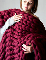 Chunky Knitted Thick Blanket Winter Warm Hand Yarn Soft Thick Line Bulky Throws