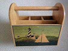 Vintage Wood Holder Caddy Bbq Picnic Craft Lighthouse design Ec