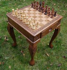 GRANDE tavolo di scacchi intagliati a mano con figure-INTAGLIATI IN LEGNO MASSELLO DI NOCE