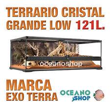 TERRARIO DE CRISTAL REPTILES CERRADURA ANTIESCAPE GRANDE LOW 121L Exo Terra