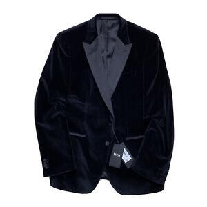 New 44 R HUGO BOSS  Peak Satin Lapel Black Velvet Slim Fit Smoking Blazer $895