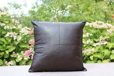 """new X2 BROWN CHECK FAUX LEATHER Classic Cushion Covers 17''X 17"""" Scatter Pillows"""