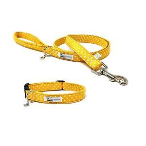 Yellow Polka Dot Adjustable Dog Collar and Optional Matching Lead Set