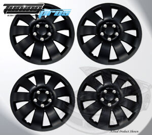 """17"""" Inch Snap On Matte Black Hubcap Wheel Cover Rim Covers 4pc, 17 Inches #721"""