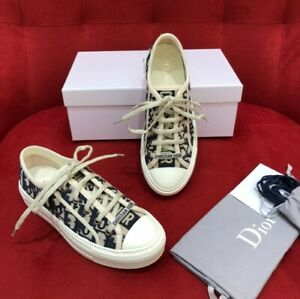 New Dior WALK'N'DIOR Blue Oblique Embroidered Sneaker For Women Size 38