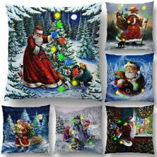 Christmas LED Light up Pillow Case Santa Claus Square Home Car Cushion Cover UK
