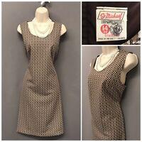 Vintage St Michael M&S Brown Mix Sleeveless Dress UK 14 EUR 42 US 10