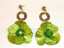 BOLD MOULDED ACRYLIC MARBLED GREEN FLOWER EARRINGS - FREE UK P&P.....CG1359